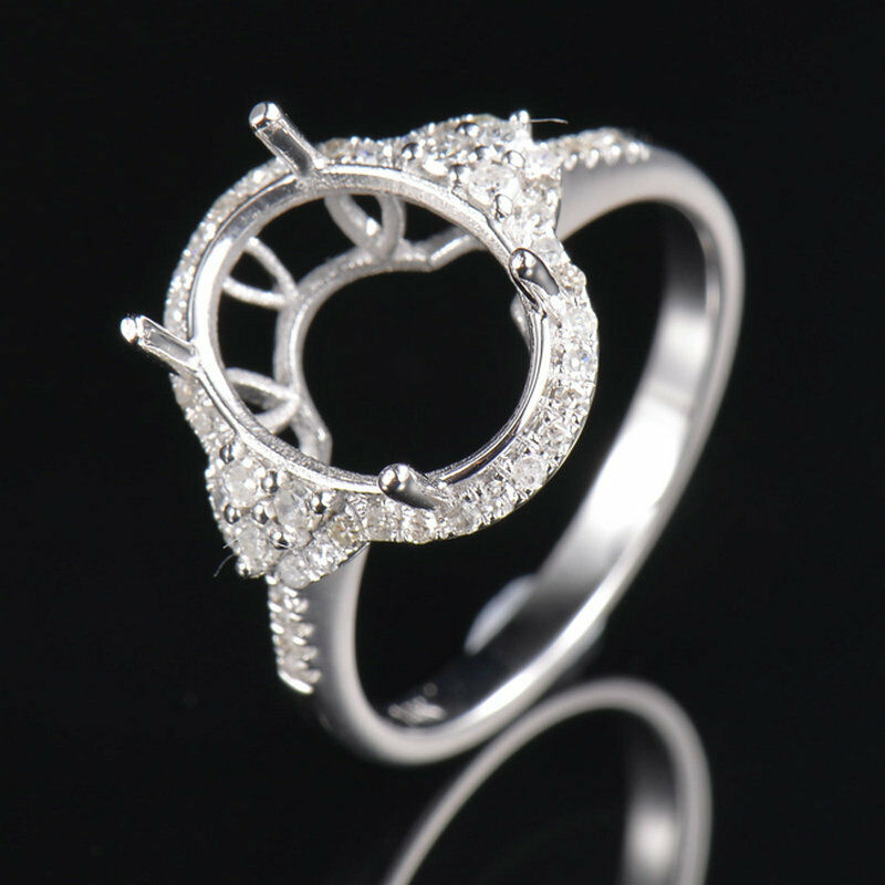 119mm Oval Cut Natural Diamond Solid 14K White gold Engagement Semi Mount Ring