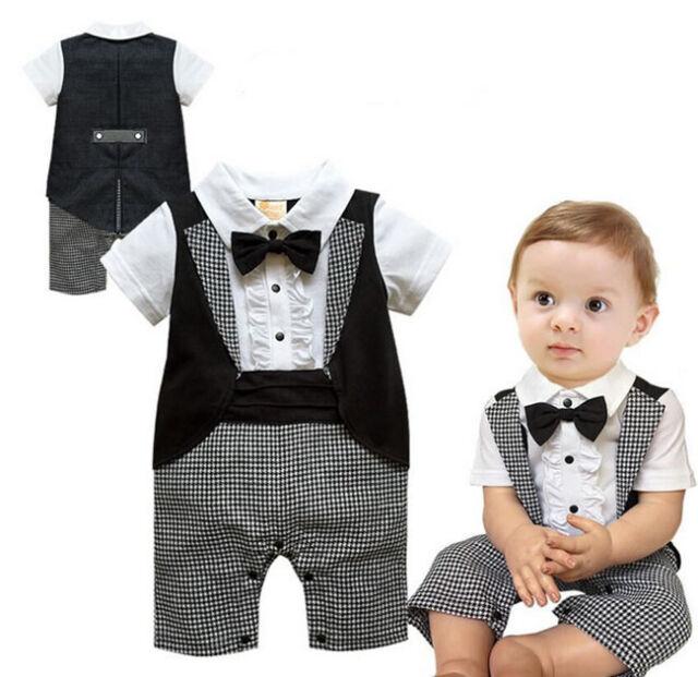 Boys Newborn Infant Baby Kids Romper Gentleman Bodysuit Outfit Clothing 0-18M
