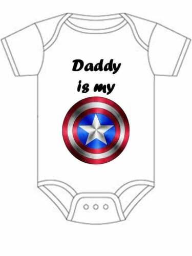 Daddy is my Captain America Gerber onesie bodysuit baby toddler shirt kids