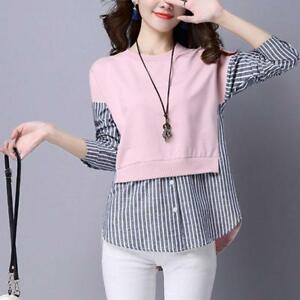 dc35b0c4cc Korean Spring Women Long Sleeve Fashion S8 Striped False Two Pieces ...