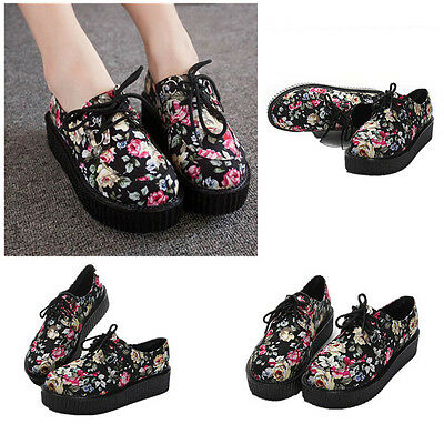 Vintage Womens Floral Round Toe Creepers Lace Up High Platform Flat Punk Shoes