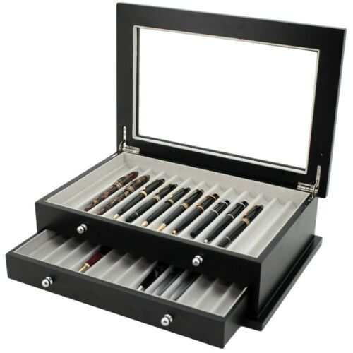 Pen Box 26 Fountain Pens Writing Wood Constructed Glass Display Case Black