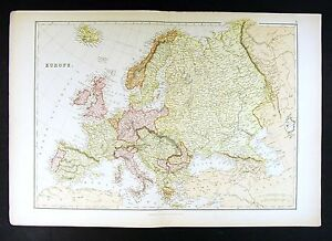 Map Of Italy France And Spain.1882 Blackie Atlas Map Europe Italy France Spain Germany Britain
