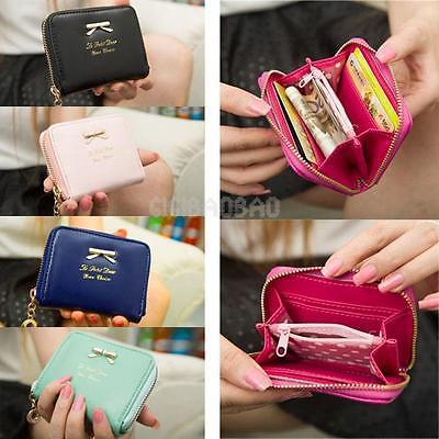 Women Leather Zip Small Mini Wallet Purse Coin Card Change Holder Handbag Bag