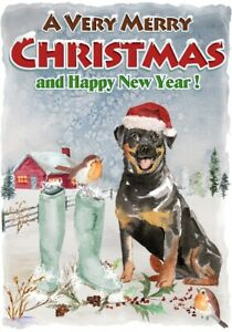 Rottweiler-Dog-A6-4-034-x-6-034-Christmas-Card-Blank-inside-Design-by-Starprint