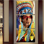 3 Piece Native American Girl Feathered Painting On Canvas Print Home