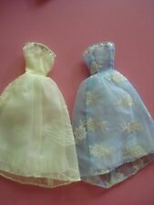 VINTAGE BARBIE CHIFFON BALL GOWN FLOCKED PATTERN HANDMADE