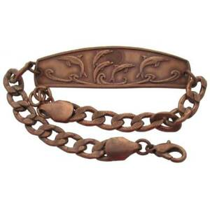 Solid-Copper-Bracelet-Dolphin-Handmade-Jewelry-Chain-Link-Arthritis-Pain-Relief