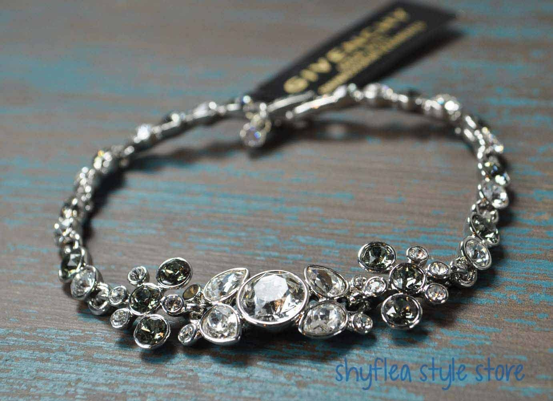 Givenchy Cluster Bracelet Smoke Grey Clear Swarovski Elements Elegant Bridal New