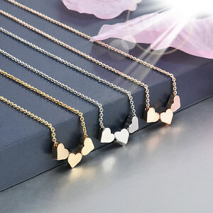 NEW-Tri-Tone-Triple-heart-Three-hearts-Necklace-Rose-Silver-Gold-Plated-Fashion