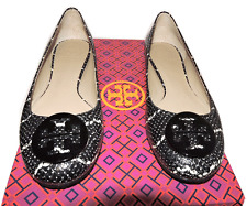 Tory Burch Reva Ballerina Flats Snake Print Leather Ballet Shoe Black  8 - 38