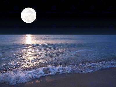 FULL MOON SEA TIDE BEACH NIGHT BLACK FRAME FRAMED ART PRINT PICTURE B12X9704