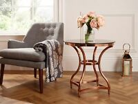 Indy Smoked Glass Top Lamp Table In Rose Gold Metal Frame