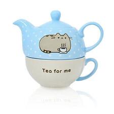 PUSHEEN CUP & TEAPOT SET TEA FOR ONE CAT KITTEN PETS APP CERAMIC MUG OFFICIAL