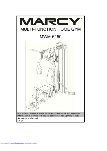 MARCY PLATINUM MWM 6150 MULTI GYM USER MANUAL AND ASSEMBLY MANUAL