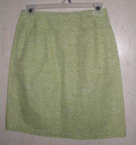 WOMENS Talbots PETITES GREEN LEOPARD PRINT SKIRT