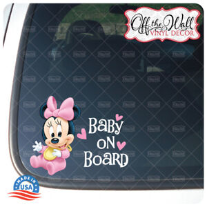 """Baby Minnie """"BABY ON BOARD"""" Sign Vinyl Decal Sticker for Cars/Trucks BOB1"""