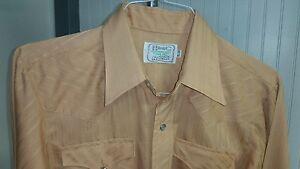 VTG-H-Bar-C-California-Ranchwear-Western-Snap-Shirt-15-1-2-34-Peach-Embossed