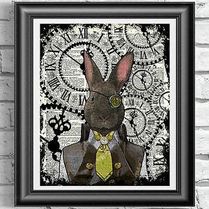 Steampunk-Rabbit-art-print-on-original-book-page-Dandy-Animal-Vintage-dictionary