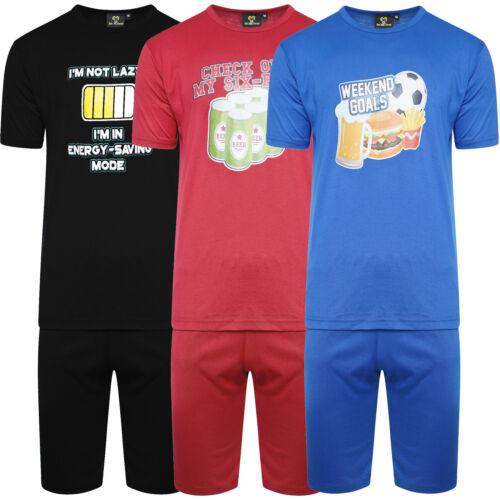 Mens Short Pyjamas Men/'s Cotton Printed Slogan T-shirt Tee Shorts Set Suit New
