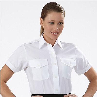 Short Sleeve Van Heusen Women/'s Aviator Pilot Shirt White Size 12