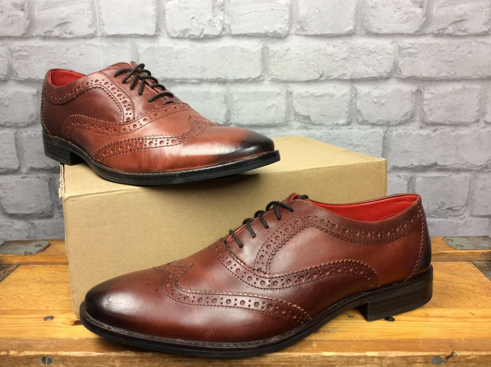 BASE LONDON MENS  10 DIFFERENT SIZES BRAMBLE OXFORD BROGUE LEATHER SHOES