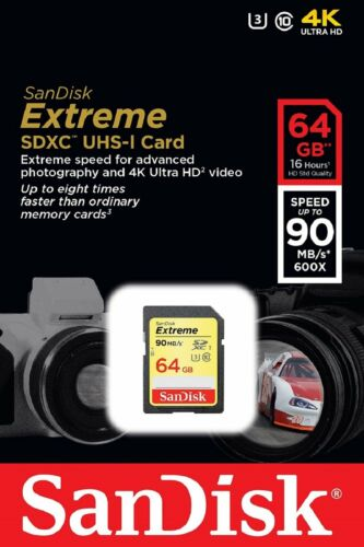 1 of 1 - SanDisk SDXC 64GB Extreme C10 600X 90MB/s Read 40MB/s Write Flash Memory Card ct