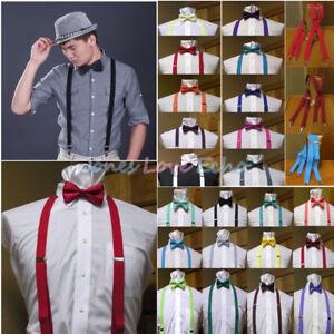 0e627417639a Men's Clip-on Suspenders X Back and Bow Tie Retro Steampunk Costume ...