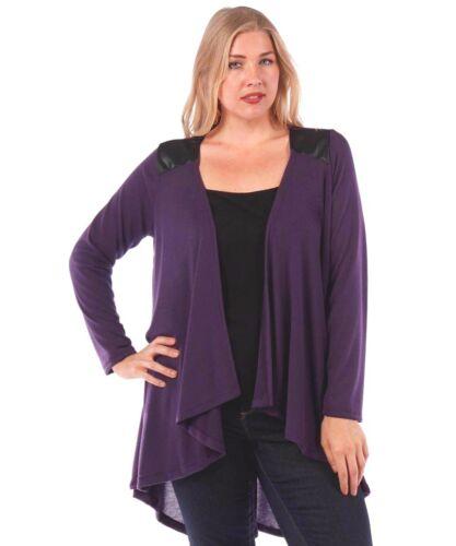 Sweater Sizes 1X 2X 3X New Women/'s Plus Size Eggplant Knit Open Cardigan