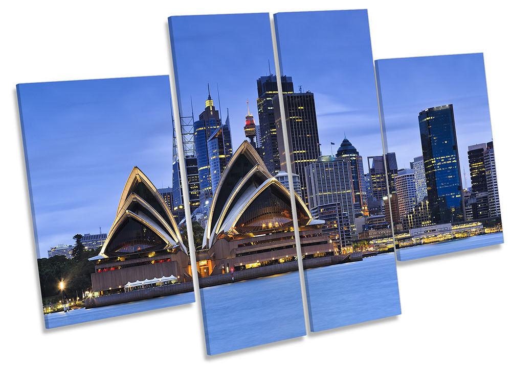 Sydney Opera House Blau Framed CANVAS PRINT Four Panel Wall Art