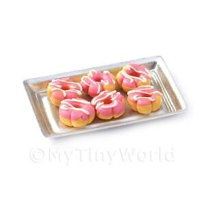 Houses, Miniatures Dolls, Bears Dolls House Miniature Pink Flower Shaped Donuts