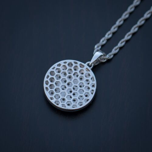 Men/'s Small White Gold Lab Diamond Round Hip Hop Three Cross Pendant Necklace