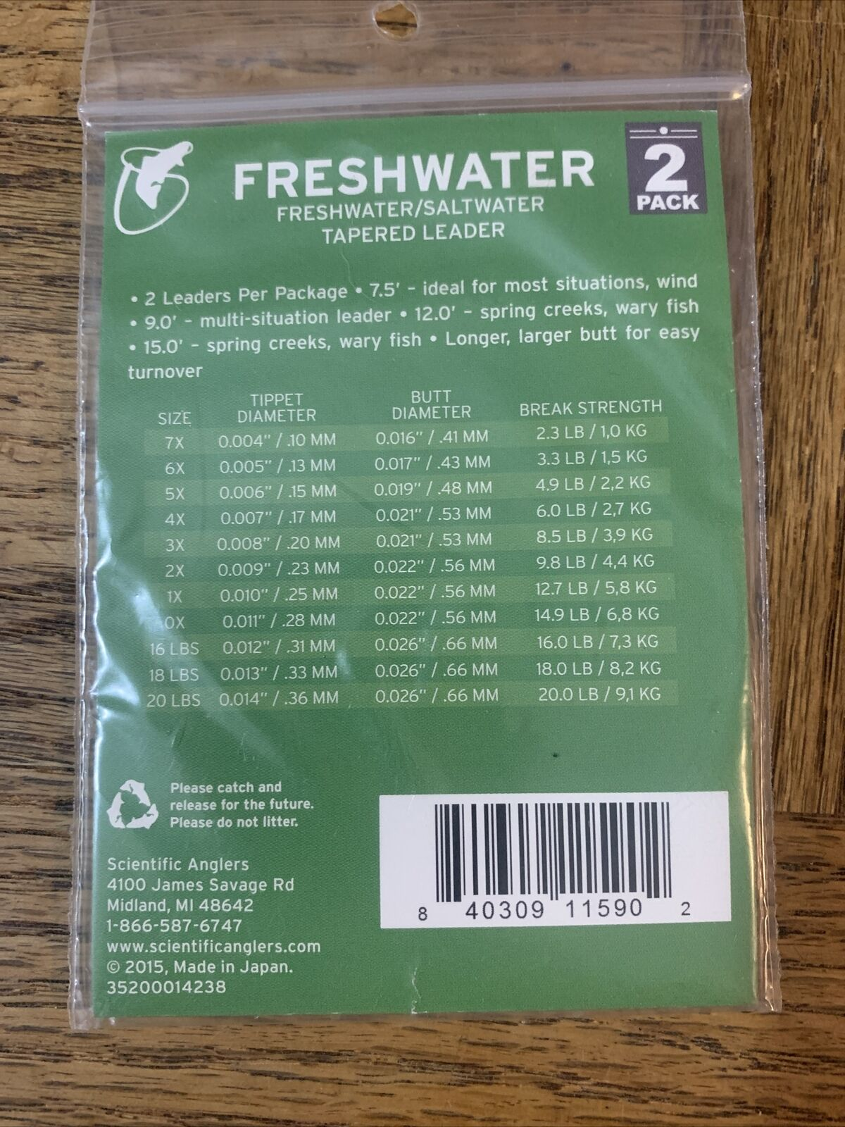 2pk Scientific Anglers 5x 9/' Freshwater Tapered Leader 6 packages