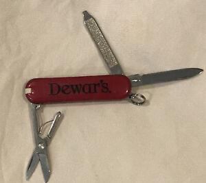 "RARE Vintage Dewar's Scotch Whiskey Victorinox Swiss Army Pen Knife Red 2.25"""