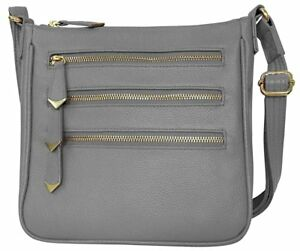 a3a99f703b3a Details about Leather Locking Concealment Crossbody Purse CCW Concealed  Carry Gun Bag Gray