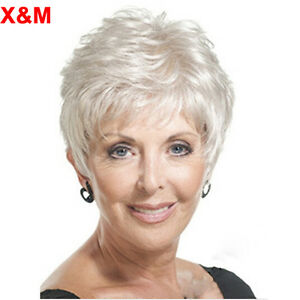 X Amp M Short Pixie Silver White Wig For Elderly Women