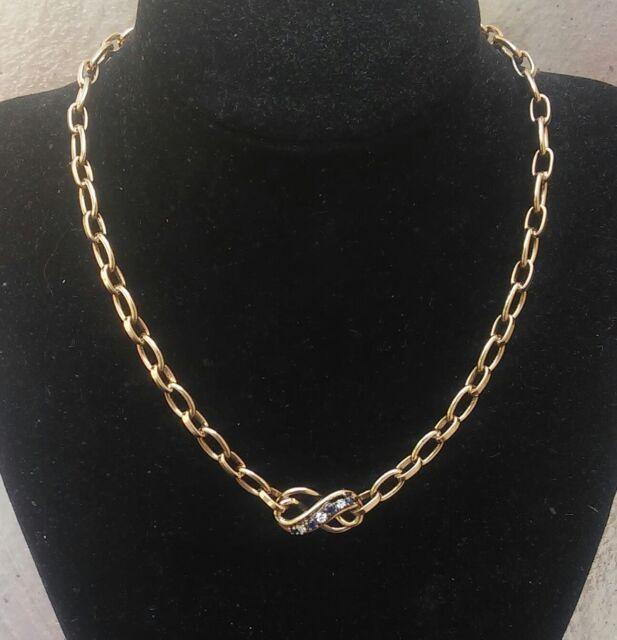 ESTATE SALE VINTAGE 14k SOLID GOLD NECKLACE WITH DIAMONDS & SAPPHIRES((158))