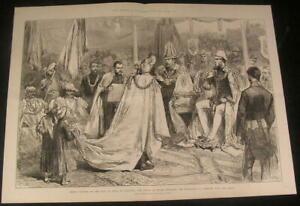 Prince-Edward-VII-Honoring-Maharajah-Knighthood-1876-antique-wood-engraved-print