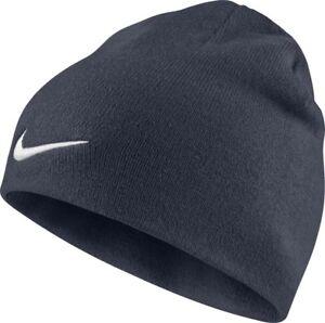e4a4f1984e6 Nike Team Performance Beanie Navy Blue Hat White Tick Swoosh Adult ...