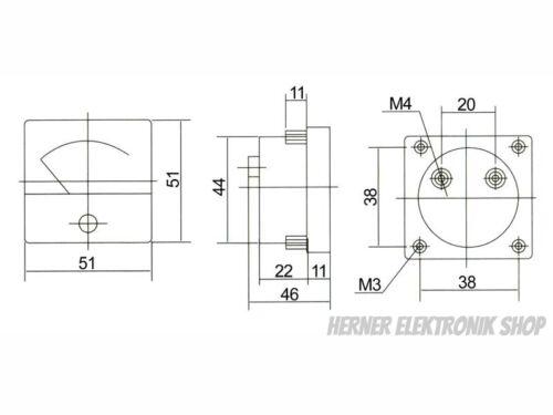 0-30 V DC Einbau Messinstrument FS-50 Analog Voltmeter CLASS 2,5