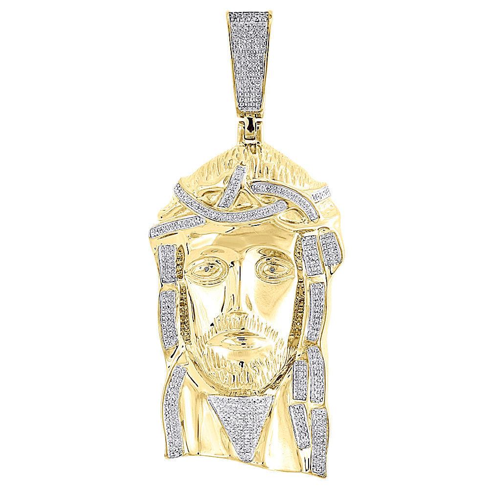 Diamond Jesus Piece Pendant Mens 3.93 Inch 10K Yellow gold Pave Charm 1.50 Tcw