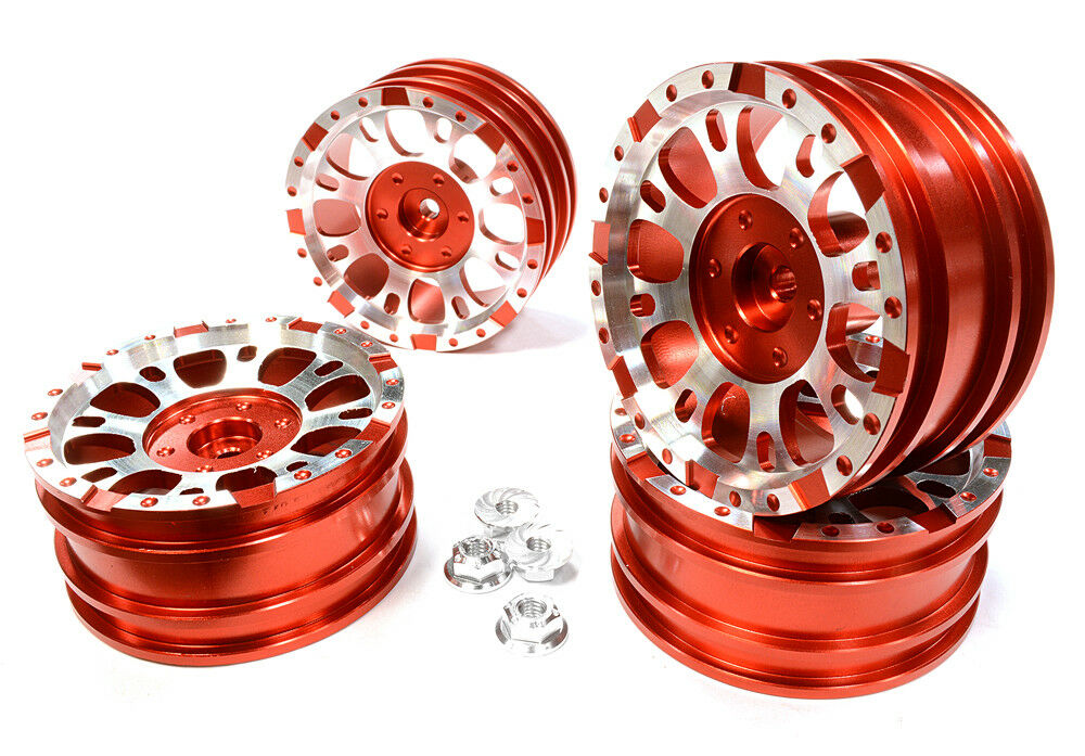 INTEGY RC C25339RED Realistic 1.9 X8U Alloy Wheel(4)+M4 Nut for Scale Crawler