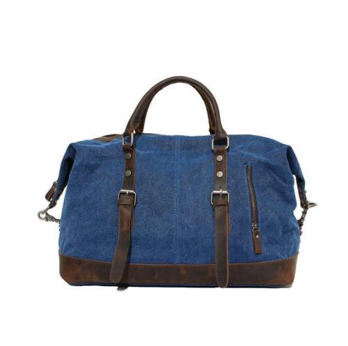 Vintage Genuine Leather Travel Canvas Luggage Rucksack Camping Mens Duffle Bag