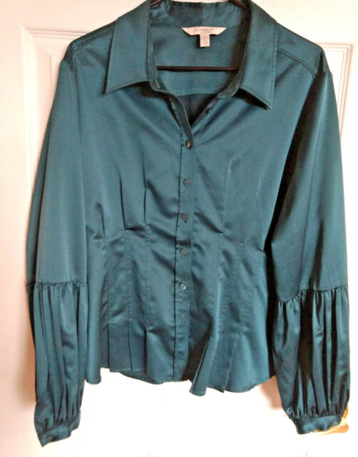 Conrad C Collection blouse bishop sleeve teal green satin M/L  18 retro