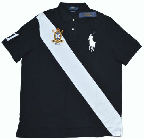 New Large L POLO RALPH LAUREN Mens Big pony sash Rugby polo shirt top black NWT