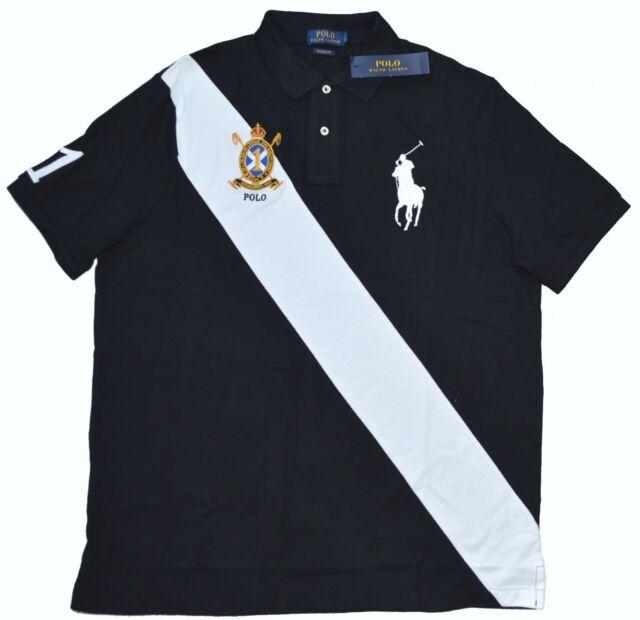 Nuevo GRANDE L Polo Ralph Lauren Hombre Marca Caballo Banda de Rugby Top Negro