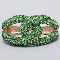Elegant Evening Bridal Green Crystal Love Knot Hinged Bangle Costume Bracelet