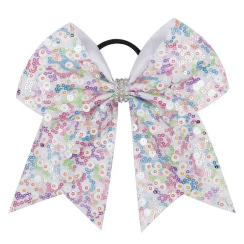 """7/"""" Sequin Hair Bow Girls Kid Women Ribbon Cheer Bow Elastic Band Hair Acessories"""
