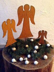 EDELROST-Engel-Familie-SET-Weihnachten-Figur-Gartendeko-Rost-Beetstecker-Metall