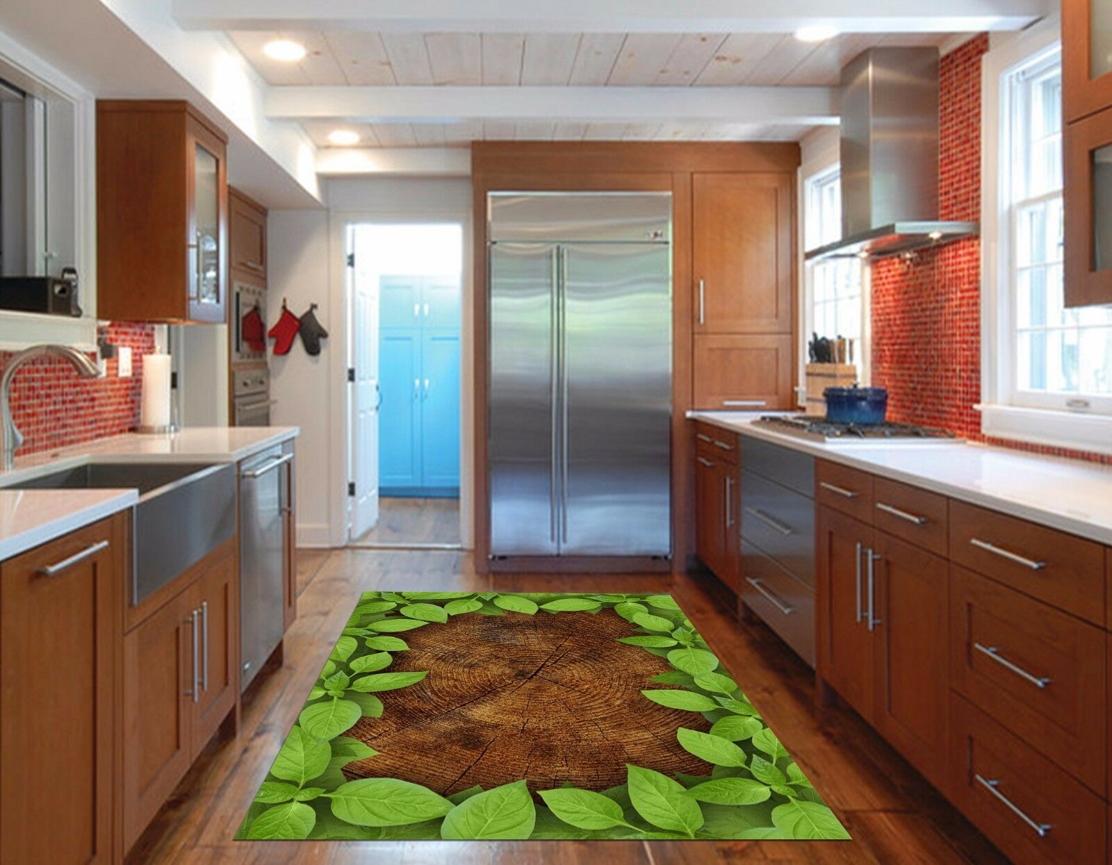 3D Leaves Wood 85 Kitchen Mat Floor Murals Wall Print Wall AJ WALLPAPER UK Kyra